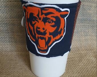 Chicago Bears Coffee Cozy-Choose Your Team!!-Chicago Bears Coffee Sleeve-Teacher Gift-NFL Coffee Cozy-NFL Coffee Sleeve-Stocking Stuffer