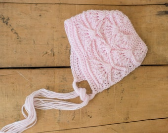 Textured Newborn Bonnet / Newborn Photography Prop / Baby Girl Gift / Delicate Baby Hat / Soft Pink