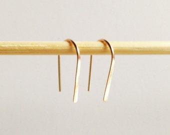 "Pair 3/4"" Gold Open Hoop Earrings, Lightweight Modern Minimalist Design, Simple Wire Hoops, Gold Hoops, Gold Filled Earrings"