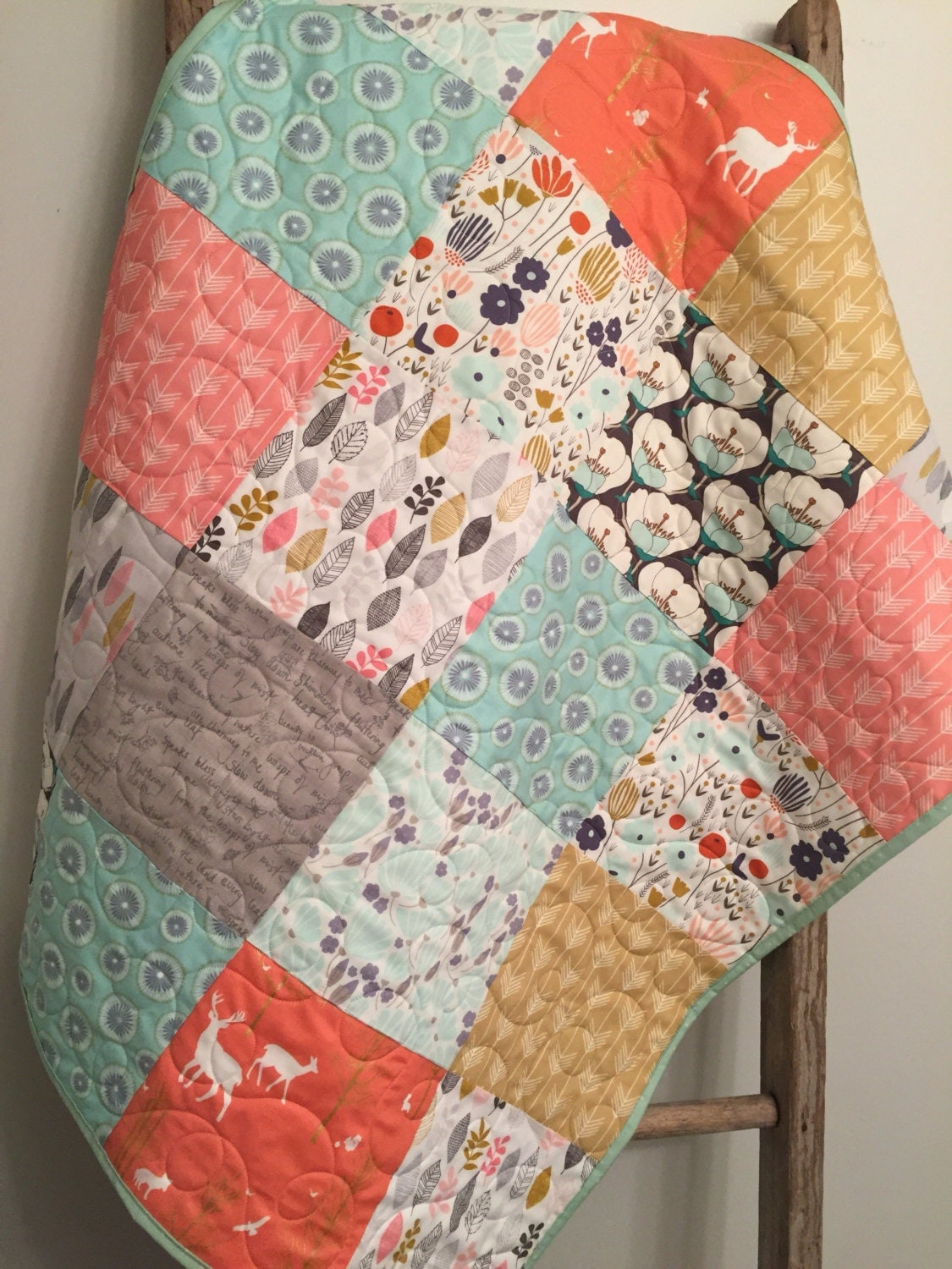 Patchwork Baby Girl Quilt Baby Bedding Woodland Crib