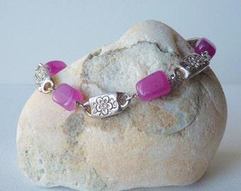 Silver Jade Bracelet Vintage Silver Tone Pink Jade Bracelet Rectangular Purple Cubs Link Bracelet, Pink Jade Jewelry, Retro Jade Handmade
