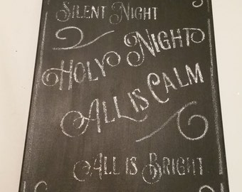 "Silent Night Chalkboard Canvas 11""x14"""