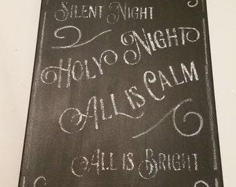 "Silent Night Chalkboard Canvas 11""x14"""