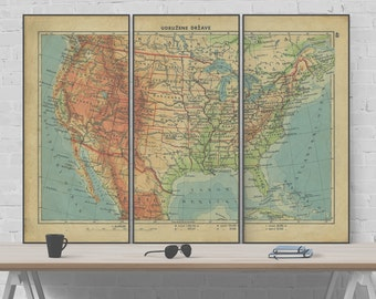 Vintage 1934 Map of USA Triptych