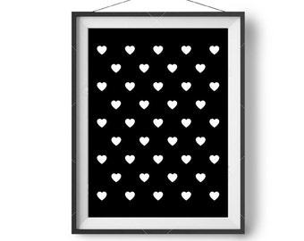 Scandinavian Art, Minimal Print, Love Heart Art, Black & White, Cute Nursery Art, Printable Wall Poster, Digital Download, Girl's Room Decor