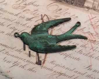 Verdigris copper brass swallow pendant 1 pc