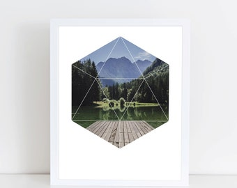 Beautiful Nature Art Print - Inspirational Mountain Lake Wall Art, Camping Pier Geometric Photography, Printable Forrest Glacier Lake Poster