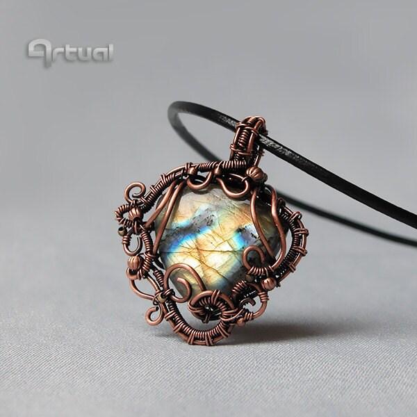 wire jewelry labradorite pendant gemstone jewelry
