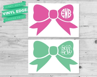 Bow Monogram Decal - Custom Bow Circle Decal - Yeti Monogram Decal - Laptop Monogram Decal -  Car Monogram Decal - Custom Bow Decal[MON0011]