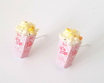 Miniature Buttered Popcorn Stud Earrings, movie nights, Miniature food jewelry