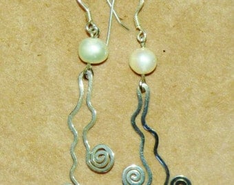 Australian Quinkan; indigenous; sacred earth; Earrings; sterling silver .925; protection; unique design; handmade; pearl