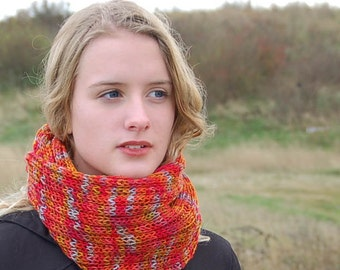 Organic hand knitted scarf - vegan, hand dyed bamboo, unique gift