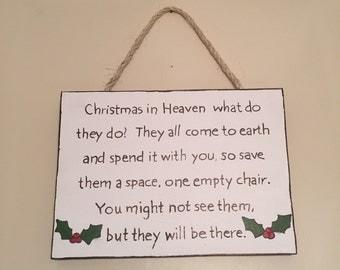 Christmas In Heaven Mistletoe Berries Sign Plaque Wall Hanger Wooden Hand Cut Hand Painted Indoor Outdoor