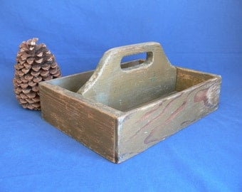 Wood Tool Caddy, Tote, Box, Vintage Wooden Divided Tool Caddy, Rustic Sturdy Condition