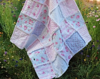 "Rag Quilt, ~ Ready to Ship ~, Baby Girl Quilt, Shabby Chic, 36"" x 36"" Quilt, Baby Shower Gift, Roses, Pink, Blue, White, Gingham Ticking"