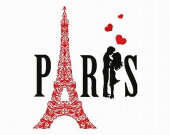 Embroidery of Paris with the Eiffel Tower and its lovers format 4 x 4 and 5 x 7 for embroidery machine