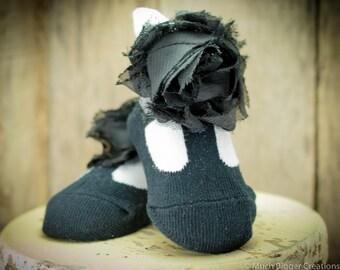 Infant Ballerina Style Socks with Fabric Flower