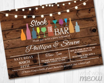 Stock The Bar Invitations Rustic Couples Shower Invite Engagement Party INSTANT DOWNLOAD Lights Vintage Personalize Editable Printable Edit