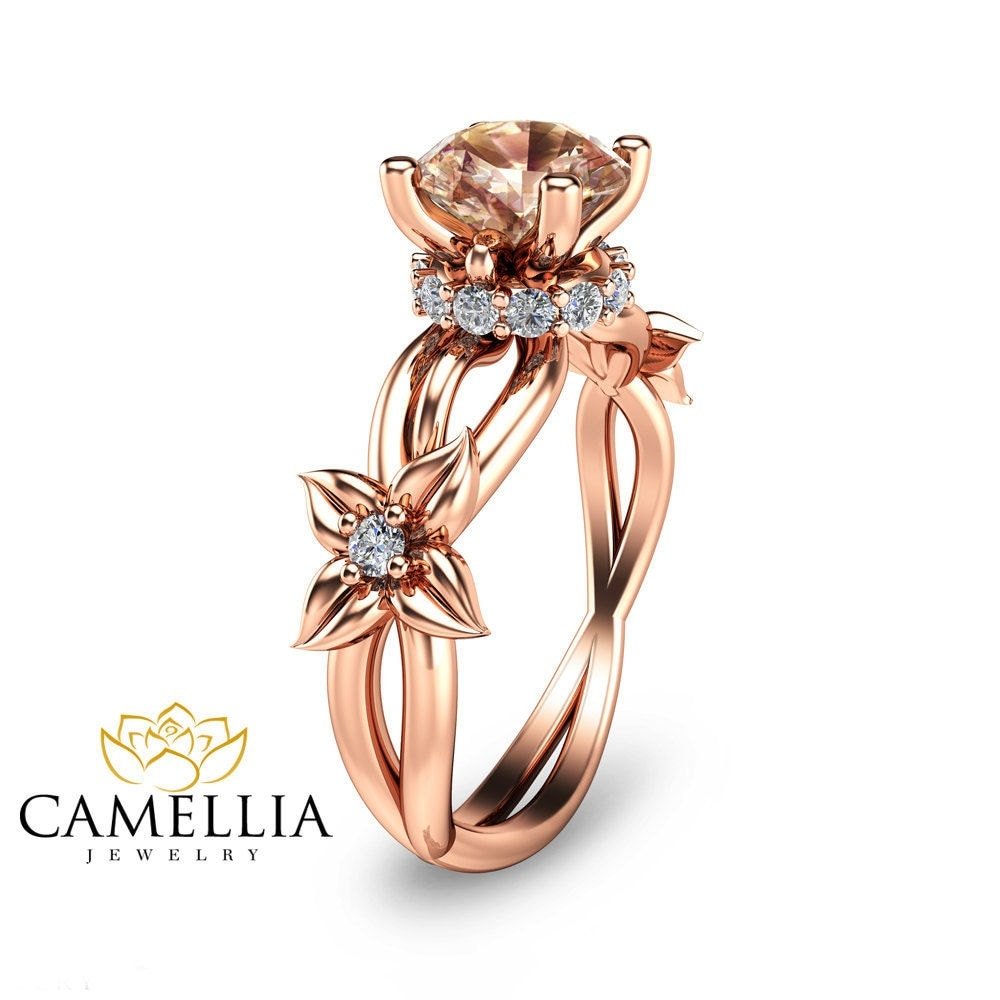 14K Rose Gold Engagement Ring Rose Gold Morganite Ring Unique