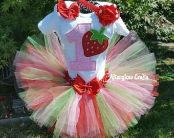 Strawberry Tutu, Strawberry Birthday Tutu, Birthday Strawberry Tutu Set, Strawberry  Tutu Outfit, Strawberry Tutu Set, Strawberry Outfit
