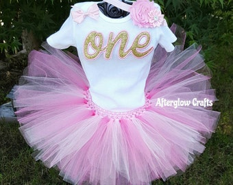 Pink and Gold One Birthday Tutu, Pink and Gold One First Birthday Tutu, Pink and Gold One 1st Birthday Tutu, Pink and Gold Tutu, Pink Tutu
