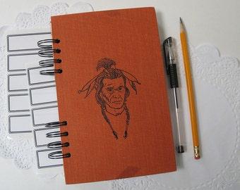 sketchbook, junk journal, smash book - smash journal - Chief Joseph, Native American journal, vintage hardcover altered book journal