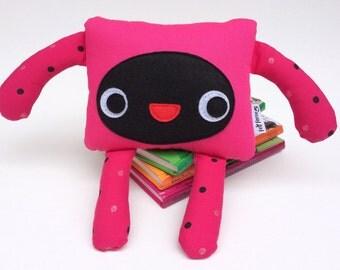 Pink and Black Soft Monster Toy, Kids Room Decoration