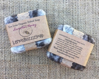 Lavender Honey Organic Felted Soap+Small Batch+One Of A Kind+Seed Paper+Handcrafted Soap+Exfoliating+Organic Soap+Gift For Her+Gift For Him