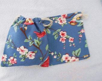 2pcs Blue Flowers Drawstring Bag Small Pouch