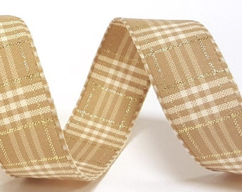 Oatmeal & Metallic Rustic Plaid 25mm Ribbon *Sold Per Metre*