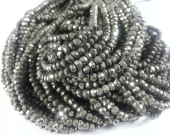 3 mm , Natural Pyrite , 14 inches