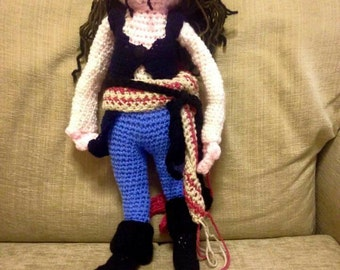 Captain Jack Sparrow Pirate Hand Crocheted Doll