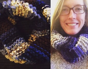 Chunky Comfy Infinity Scarf in Blue, Brown and Ivory