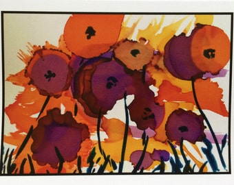 "Alcohol ink cards ""HAPPY GARDEN"" 5X7"" Single cards SALE"