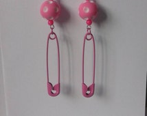 Punk princess pink safety pin earrings cool edgy girly gothabilly polka dot rockabilly pink white bead dangle scene pastel kawaii funky