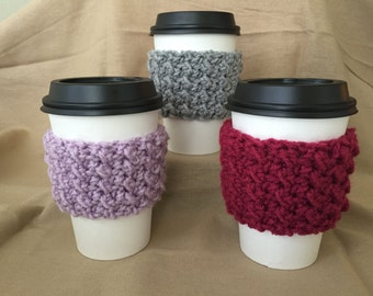 Handmade Crochet Coffee Cup Cozy Shell Pattern