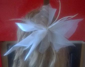 bridal white hair clip