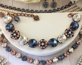 VINTAGE DENIM **Embellished Bracelet** 12mm Swarovski Rivoli Crystals, Denim, Vintage Rose, Patina