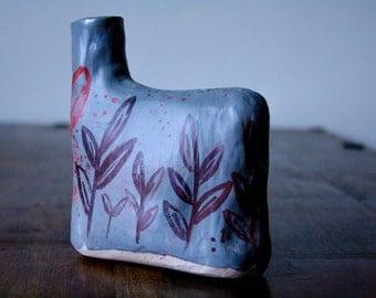 Flask Vase: Flint grey vase with fen illustration in burgundy, crimson and burnt orange