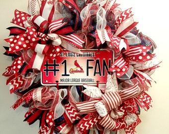 St Louis Cardinals #1 Fan Mesh Wreath, STL Cardinals Wreath, Baseball Door Wreath, Cardinals Door Wreath, St Louis Cardinals Wreath, #MLB