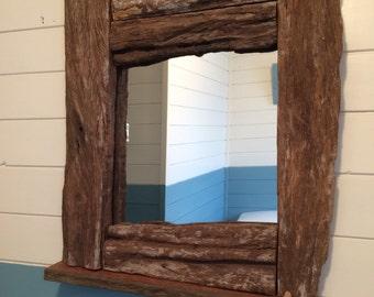 Chunky shipwreck driftwood mirror. 56 x 47 cms.