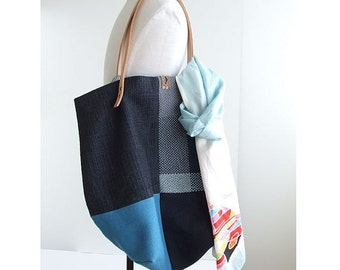 Large Tote Bag, Market Bag, Blue Tote Bag, Shopping Bag, Tote Bag with Pockets, Blue Bag, Blue Tote, Everyday Bag, Handmade Bag