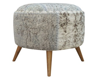 Grey Round Ottoman, Upholstered Ottoman, Vintage Fabric, Furniture, Boho Furniture-IN STOCK