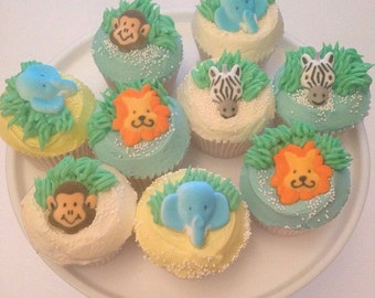 Jungle Animal Edible Sugar Cake Toppers Set Of 8 Zebra, Monkey, Lion and Elephant