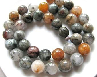 Lodolite beads, 15 inch strand, 38 beads, 10mm, gray, black, amber and white, Jewelry supply - B 322