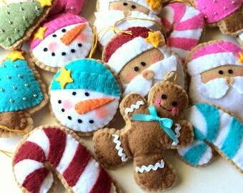 Felt Christmas Ornaments/Felt Christmas Decorations-Felt Ornaments-Christmas Cookies-Felt Ornament Set-Christmas Set
