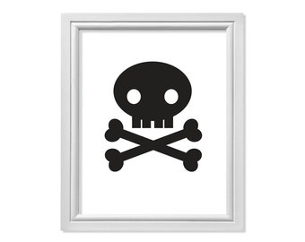 Skull Decor, Skull Print, Skull Art, Skull and Crossbones Print, Halloween Decorations, Halloween Signs, Pirate Print, Pirate Printable