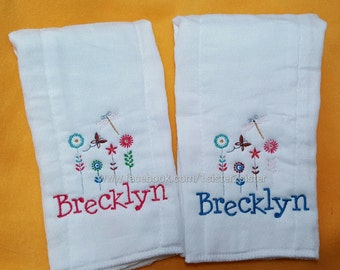 burp cloths customized - burpees - personalized - baby shower gift