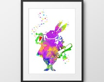 Alice in Wonderland Print, Rabbit Print, Rabbit Watercolor, Alice Art, White Rabbit Art, Nursery Decor (No A0113)