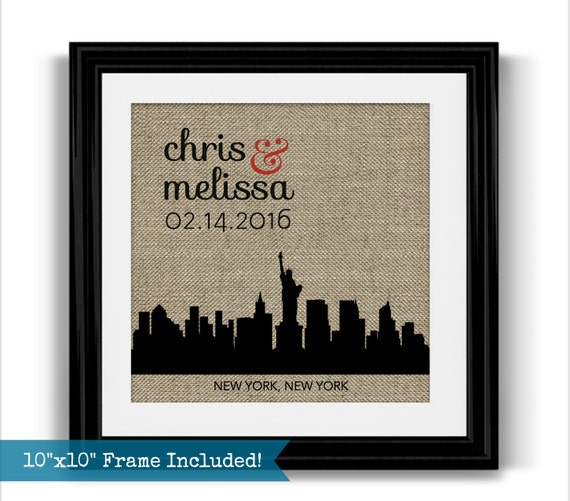 Unique Wedding Gifts Nyc : New York City Skyline Burlap Print Personalized Wedding Gift NYC ...